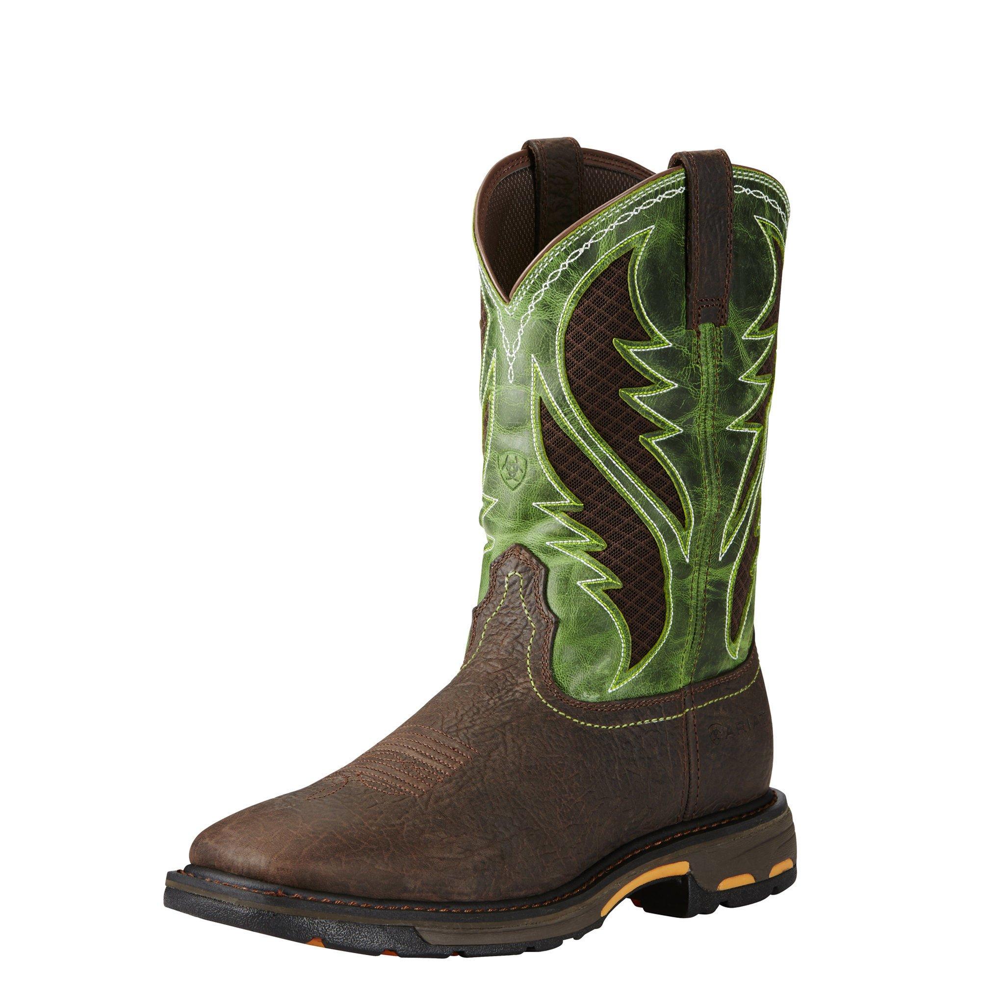 Ariat Work Men's Workhog Venttek Work Boot, Bruin Brown/Grass Green, 12 D US