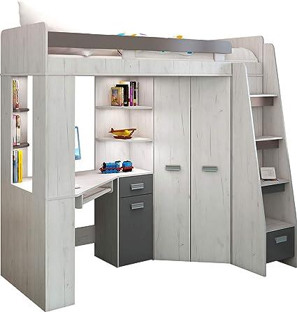 Lit Mezzanine Lit Superpose Tout En Un Escalier A Droite Ensemble Pour Enfants Lit Superpose Bureau Armoire Etageres Artisanat Blanc