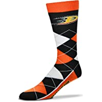 For Bare Feet Men's NHL Argyle Lineup Crew Dress Socks-1 Size Fits Most