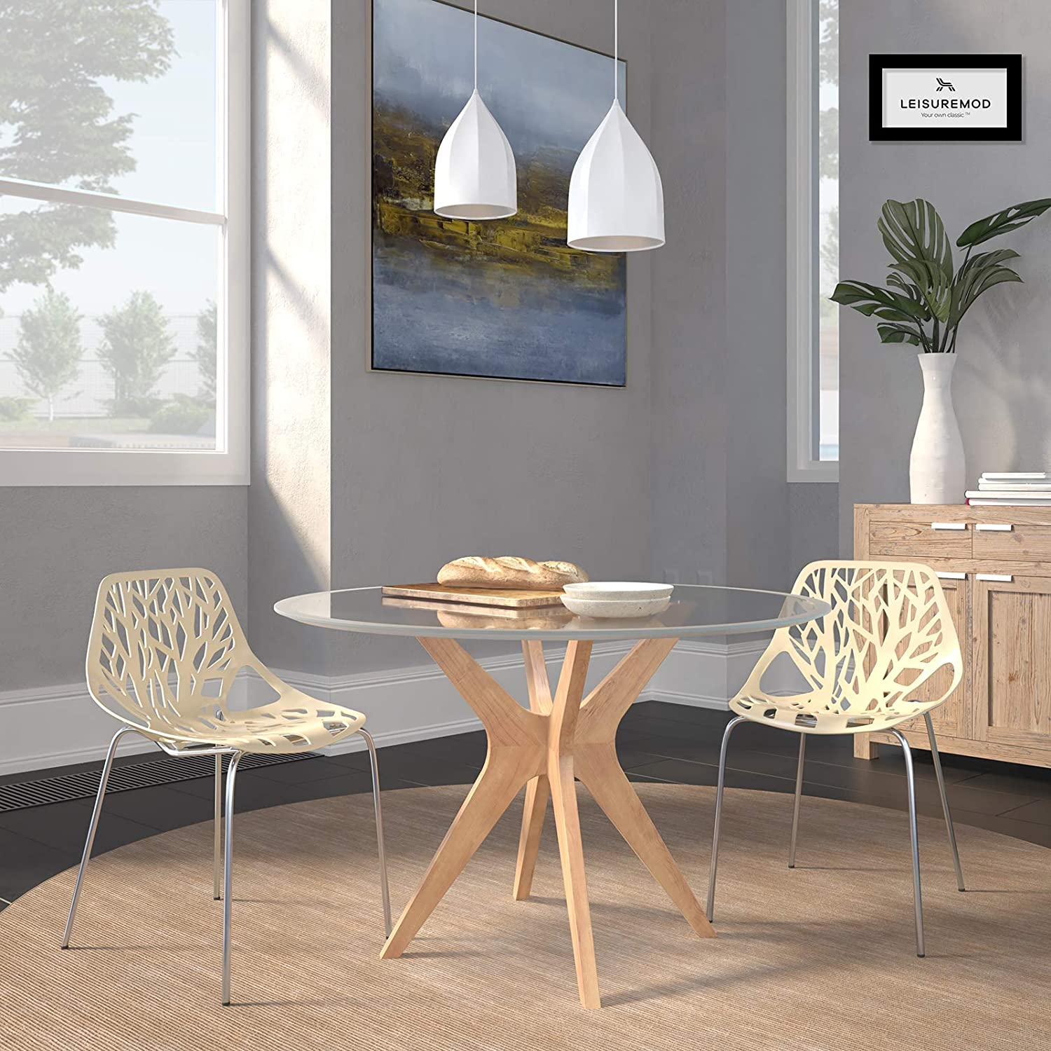LeisureMod Forest Modern Dining Chair with Chromed Legs, Set of 2 Cream