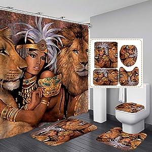 Fashion_Man 16PCS/Set Lion African Woman Shower Curtain Polyester Cloth Fabric Bath Curtain Waterproof Bathtub Curtains, Bathroom Rugs Bath Mat Afro Girl Egyptian Lady Bathroom Decor, 72