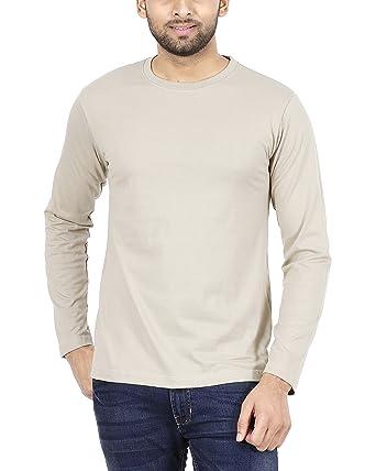 11ce279ea FLEXIMAA Men's Cotton Plain Round Neck Full Sleeve T-Shirt Biscuit Color S  Size