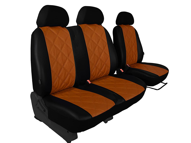 POK-TER-BUS F/ür CRAFTER bis 2016 Sitzbezug Fahrersitz Grau 2er Beifahrersitzbank Kunstleder diagonal gesteppt in 5 Farben