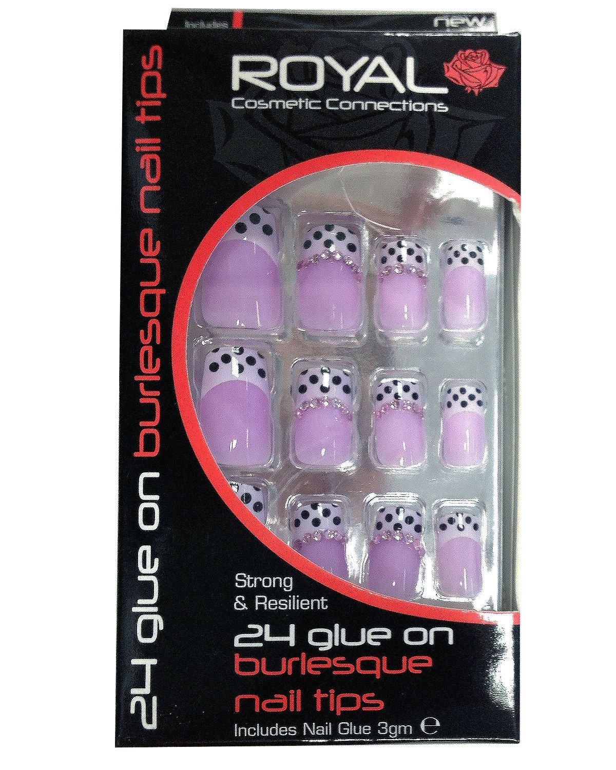 Royal 24 Glue-On Burlesque Nail Tips - Black With White Spots & Gem Detail