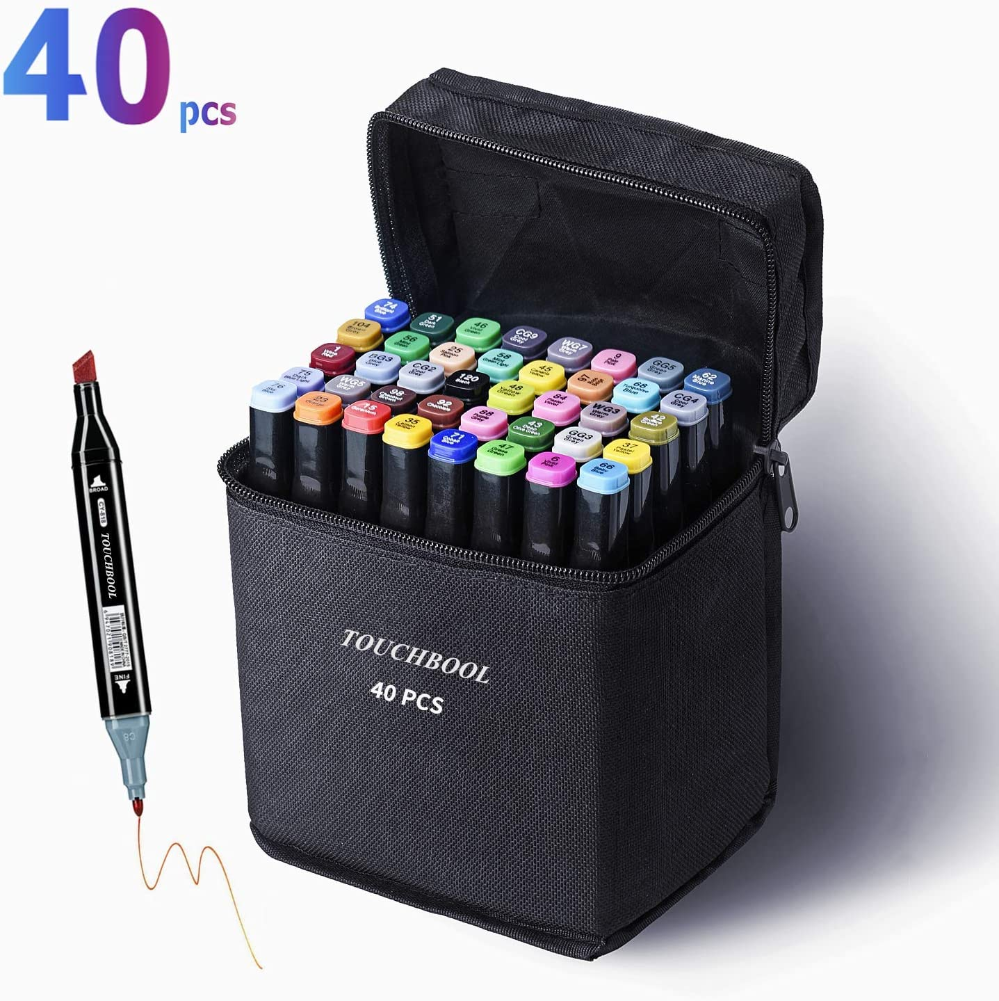 Amazon Com 40 Colors Drawing Alcohol Art Markers Pen Set For Kids Adult Coloring Book Artist Alcohol Pen Dual Tip Art Markers Twin Permanent Markers Drawing Illustration 40 Color Black Shell