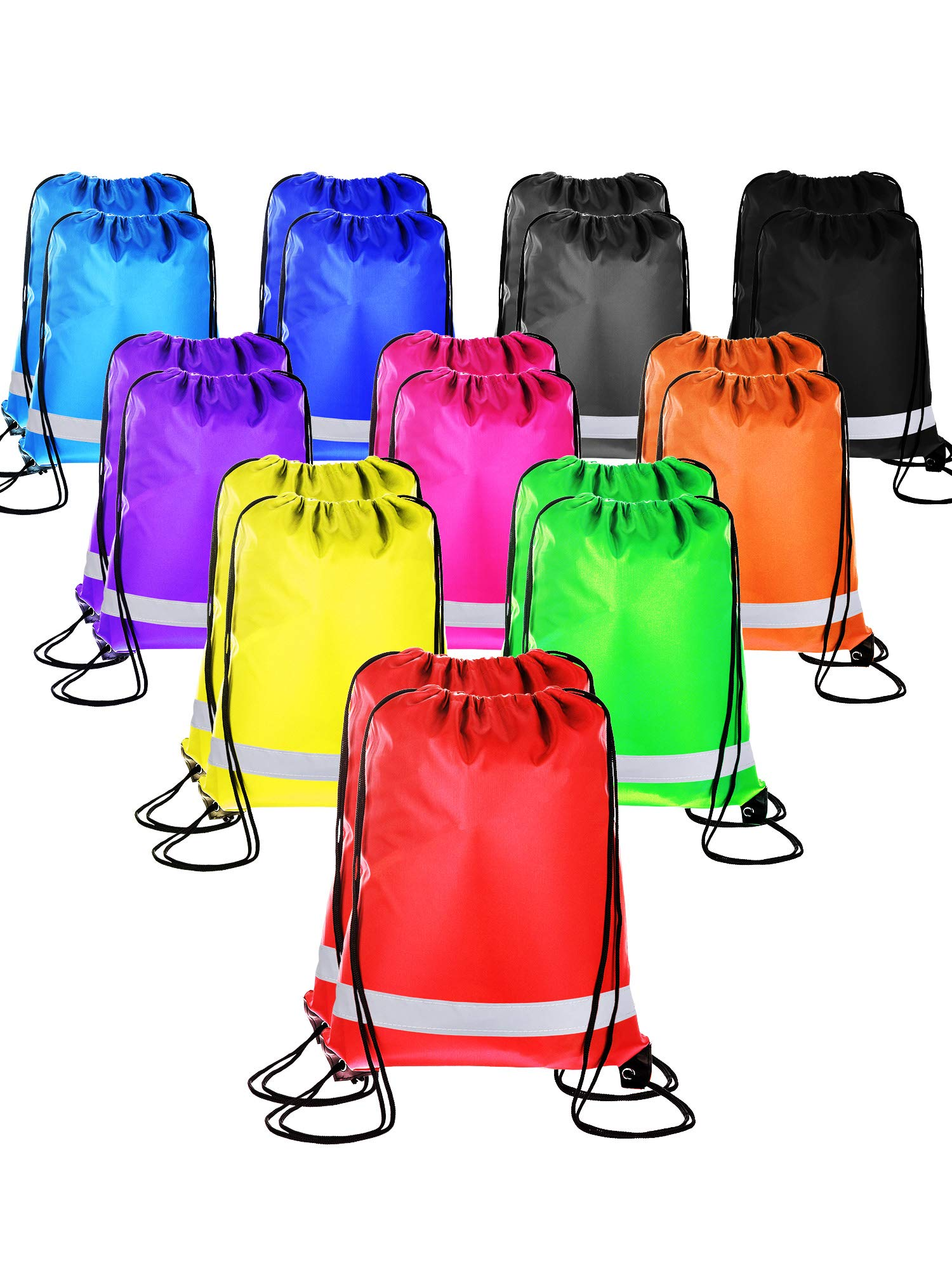 20 Pieces Drawstring Backpack Sport Bags Cinch Tote Bags for Traveling and Storage (Reflective 10 Colors, Size 1) by BBTO