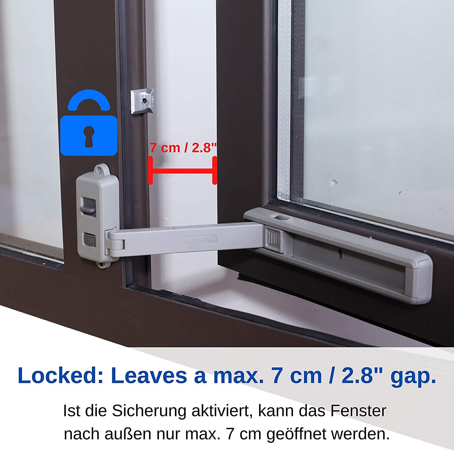 Window Child Safety Lock with 3M VHB Special Adhesive Metal Frames Wooden Dark Grey for Inward /& Outward Opening Windows Window Opening restrictors for Window Frames from 1.5 Width for UPVC