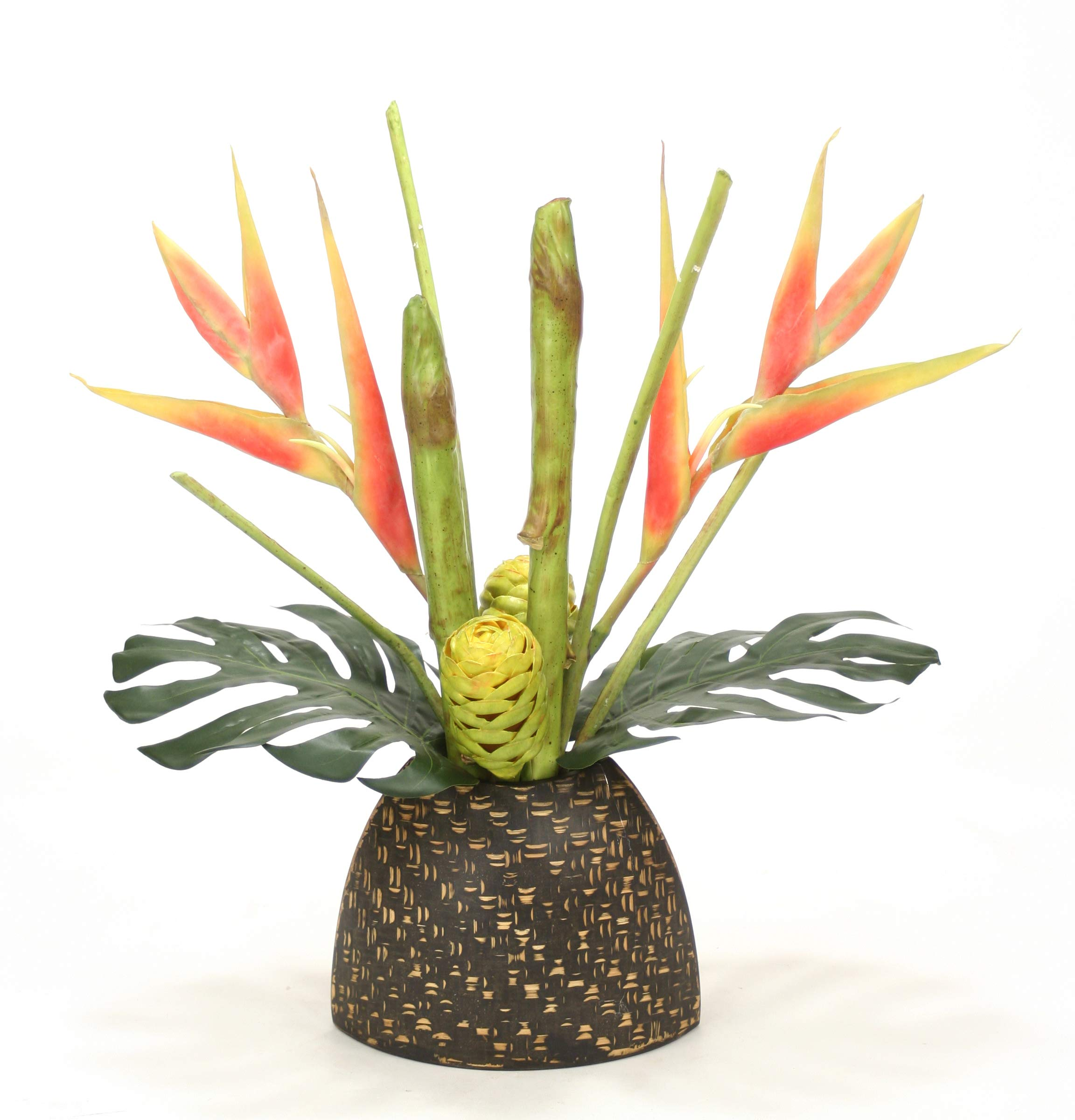 Distinctive-Designs-Heliconia-and-Protea-Tropical-Floral-in-Bamboo-Pattern-Vase