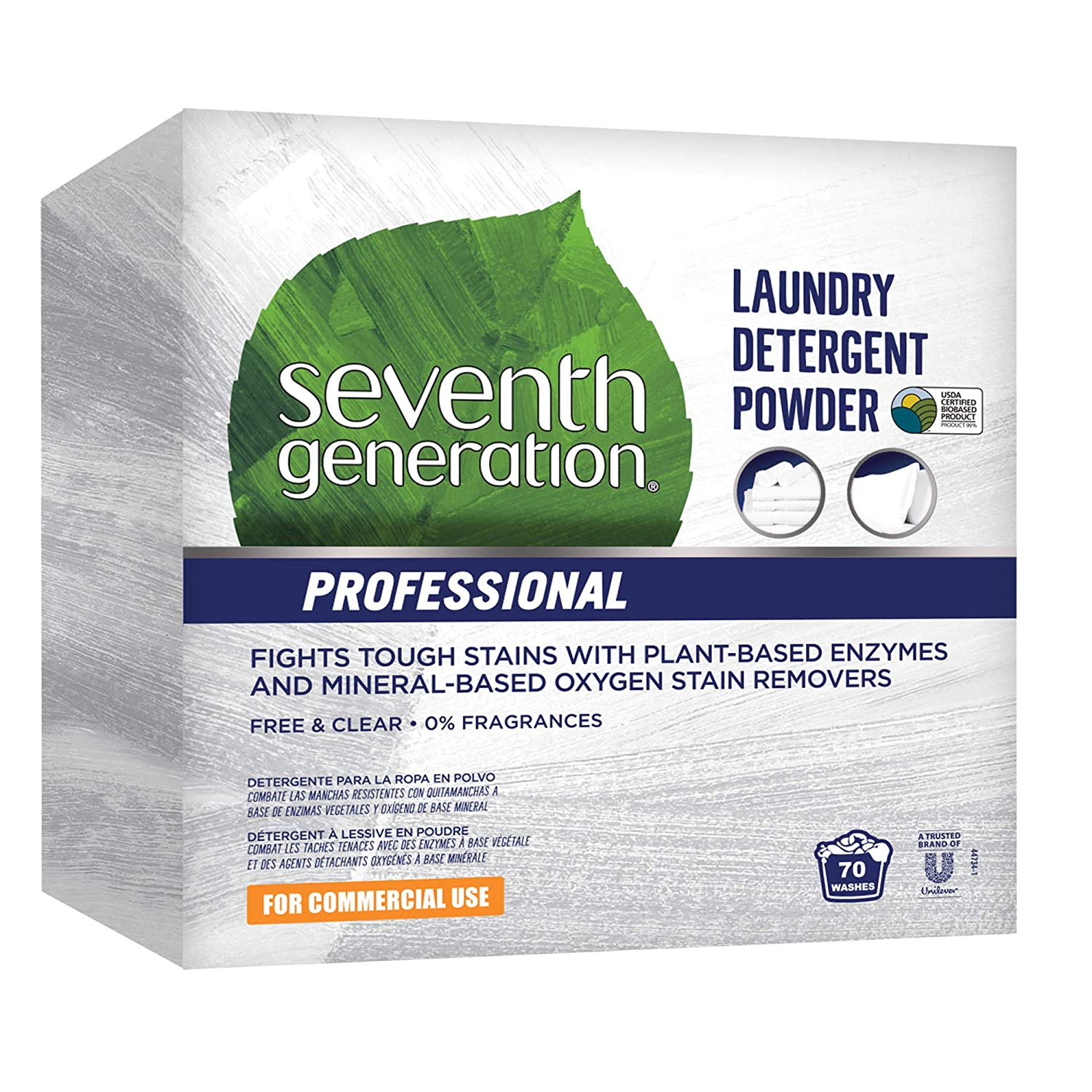 Seventh Generation Professional Laundry Detergent Powder, Free & Clear, Unscented, 112...