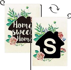 "Agantree Art Home Sweet Home Welcome Letter ""S"" Monogram Double-Sided Burlap Waterproof Garden Yard Flag - 12"" W x 18"