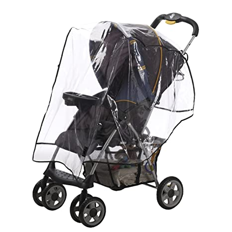 Transparent Universal Twins Stroller Rain Cover Double 360 Pushchair Wind Shield
