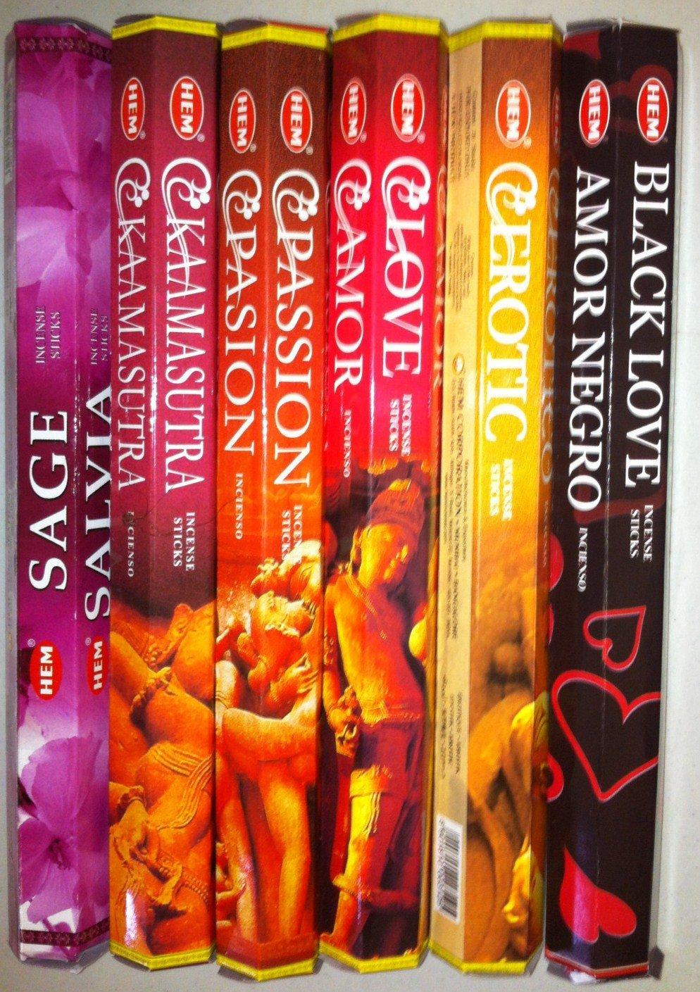 HEM Incense Sticks 'Love' Set of 6 Boxes X 20 Grams, Total 120 Gm 'Warm & Sensual'