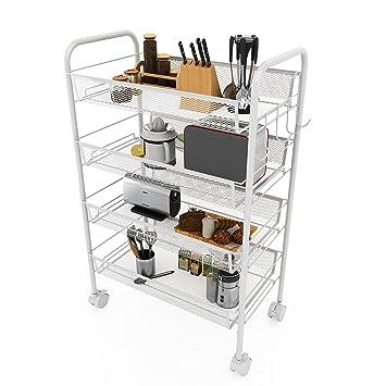 Homdox 4 Etagen Küchenwagen Küchenrollwagen Metallregale mit ... | {Küchenwagen schmal 71}