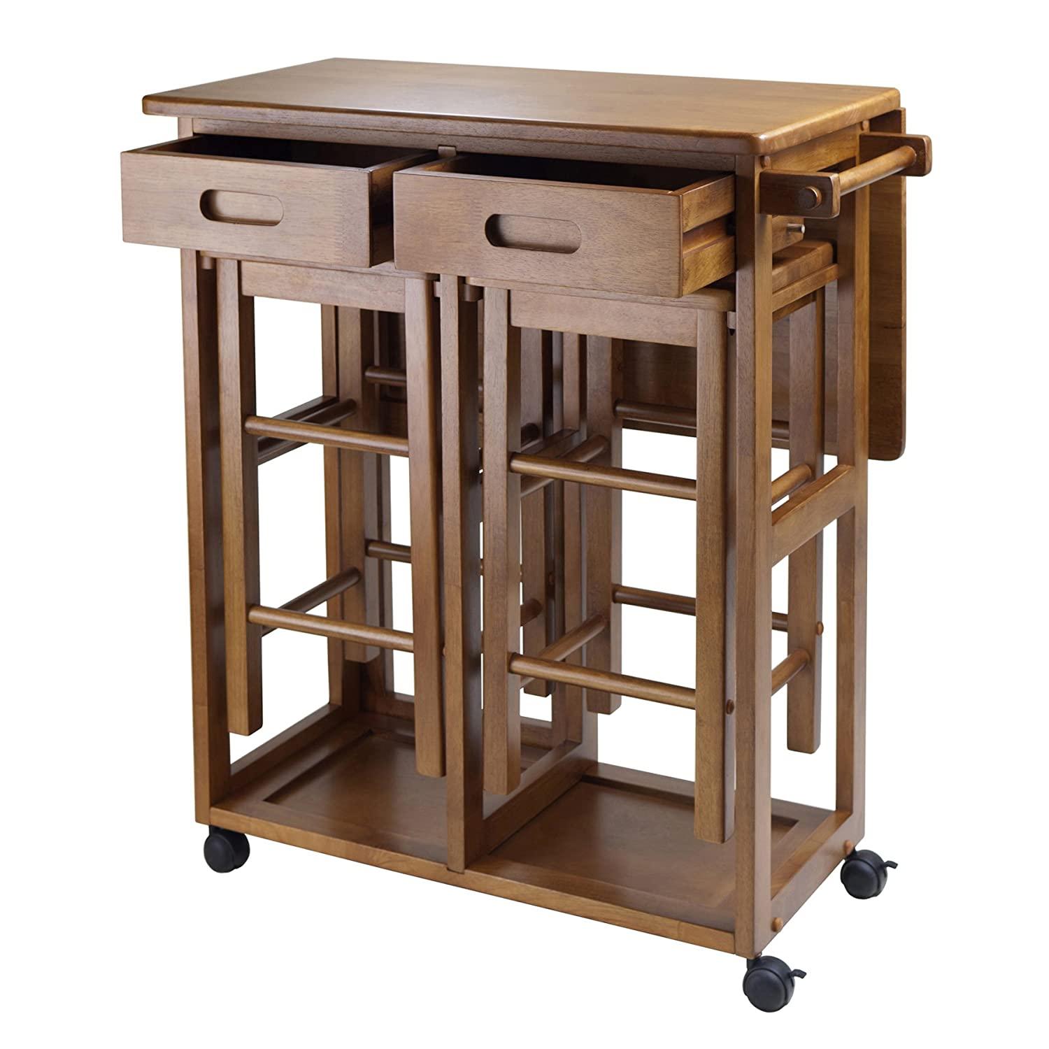 Amazon.com: Winsome Space Saver With 2 Stools, Square: Kitchen U0026 Dining