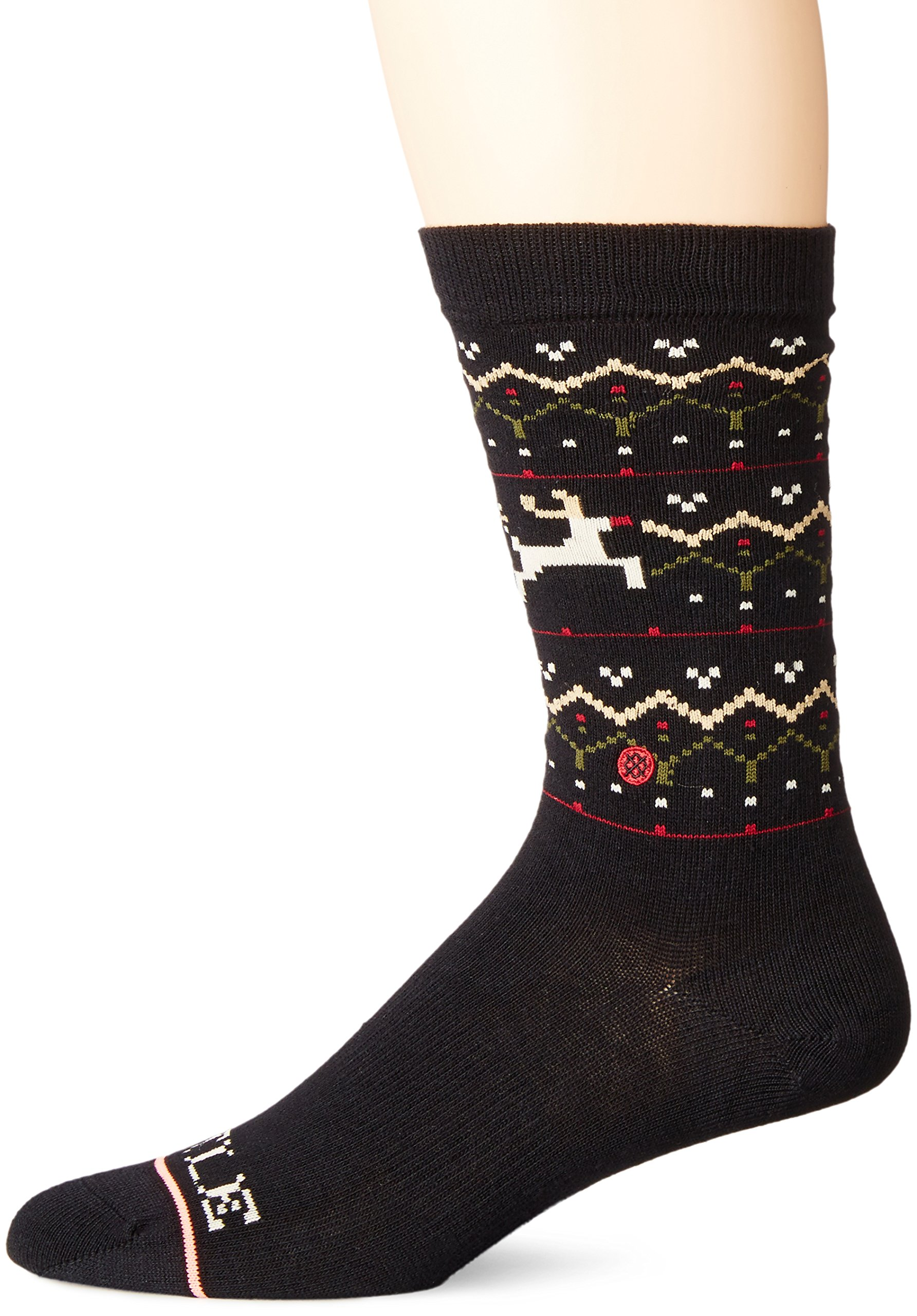Stance Women's Mistle Toes Holiday Arch Support Tomboy Crew Sock, Black, Medium