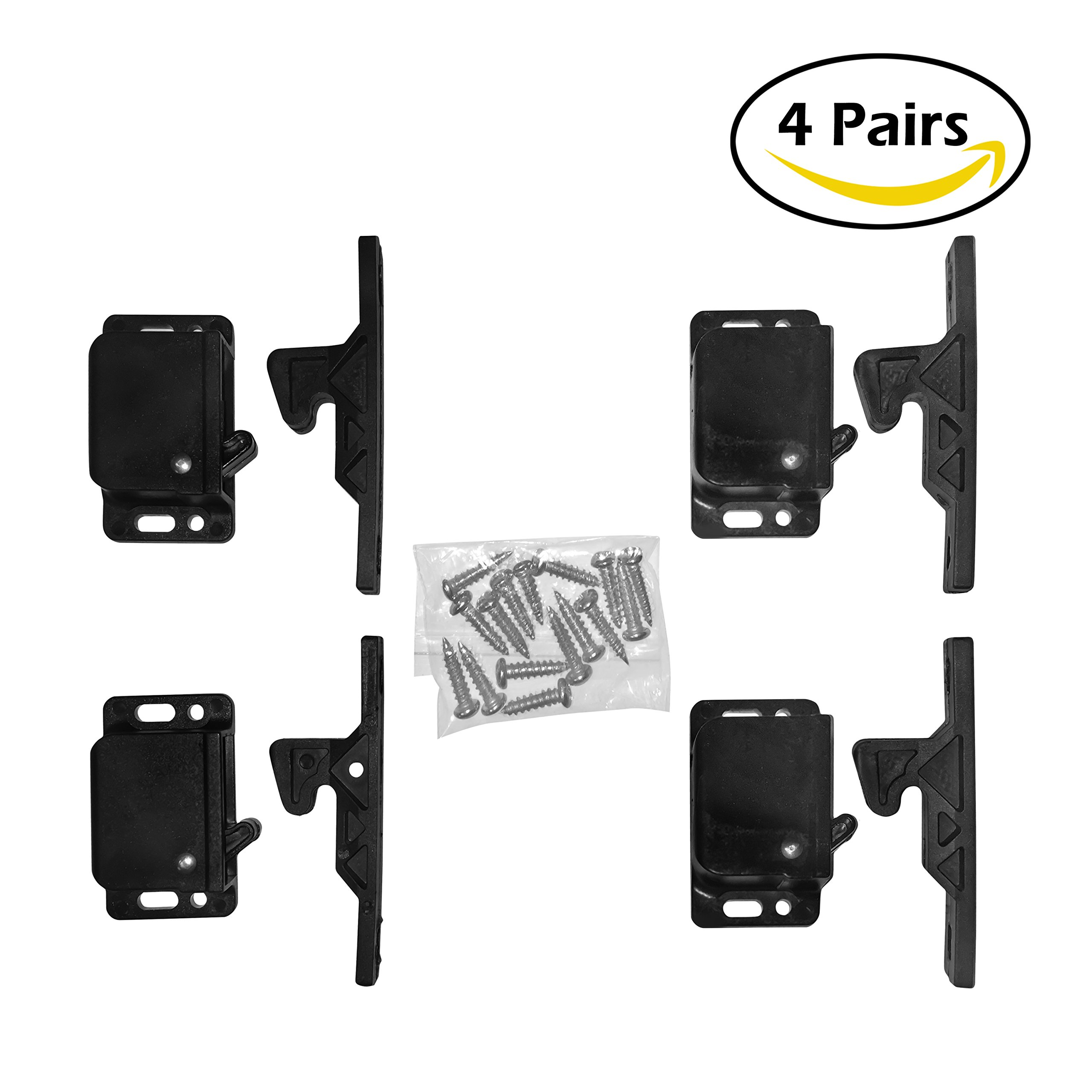 Camp'N -4 Pair- Push Catch - Latch - Grabber - Holder for RV Cabinet Doors with Mounting Hardware - 5 lbs Pull Force - Perfect for RV, Trailer, Camper, Motor Home, Cargo Trailer - OEM Replacement