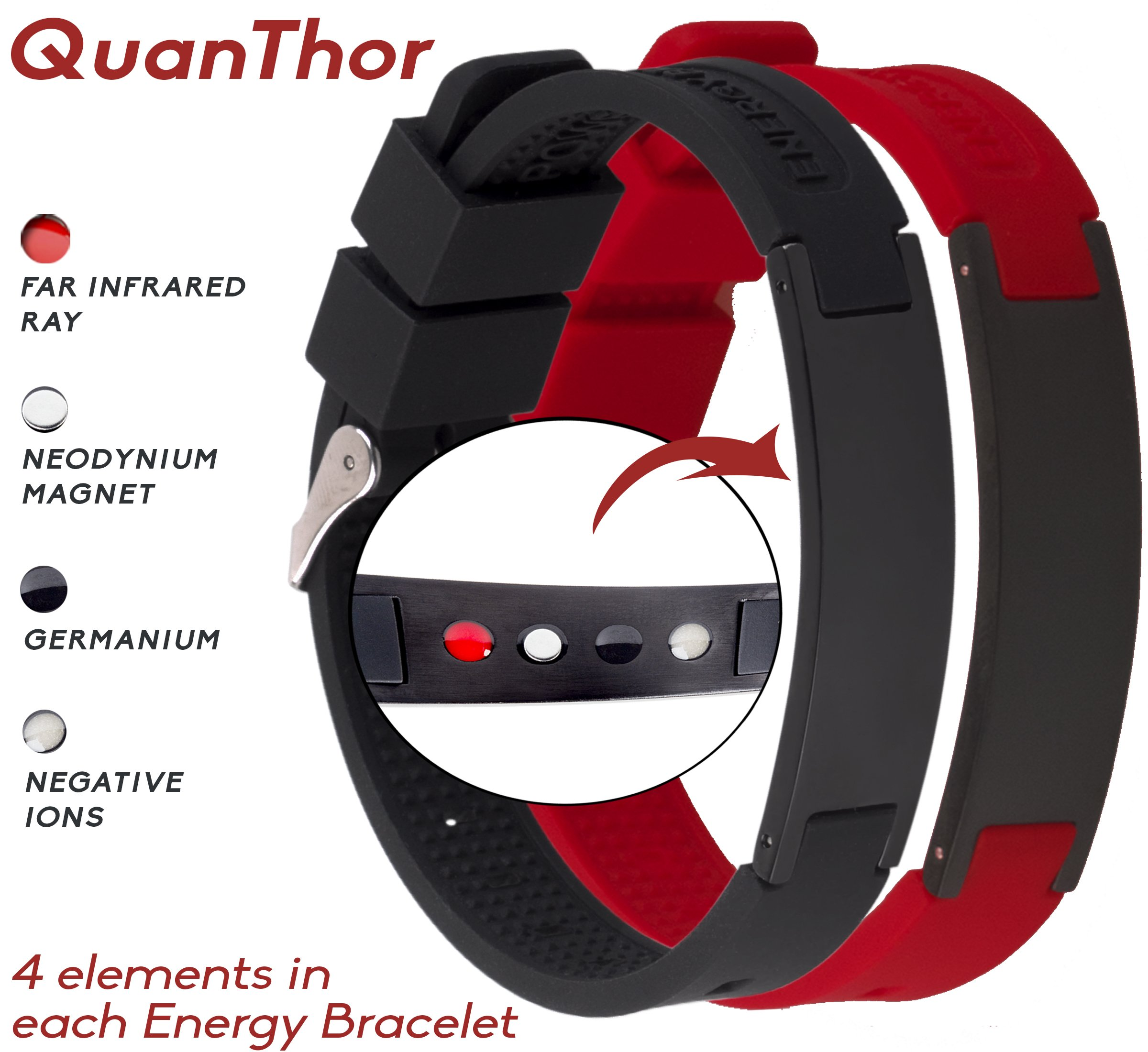 Anti EMF Radiation Protection Bracelet 4 in 1 | Negative Ions 1200, Germanium, Far Infrared and Neodymium Magnet 1500 Gauss | Arthritis Pain.Carpal Tunnel.Strengthen Immunity.Migraines by QUANTHOR