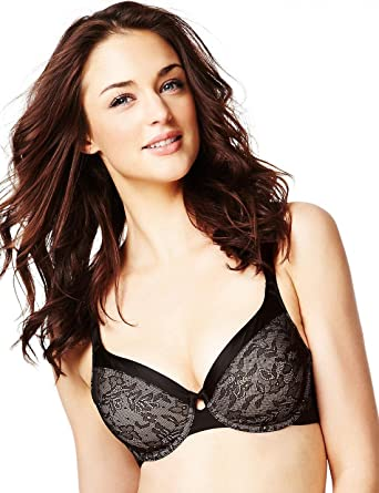 787d180681a7 M & S Ex M and S Ladies Black Bra Smoothing Floral Lace Underwired Non  Padded: Amazon.co.uk: Clothing