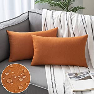 Woaboy Set of 2 Outdoor Waterproof Throw Pillow Covers Decorative Farmhouse Solid Cushion Cases for Patio Garden Sofa Chairs Orange 12x20 inch