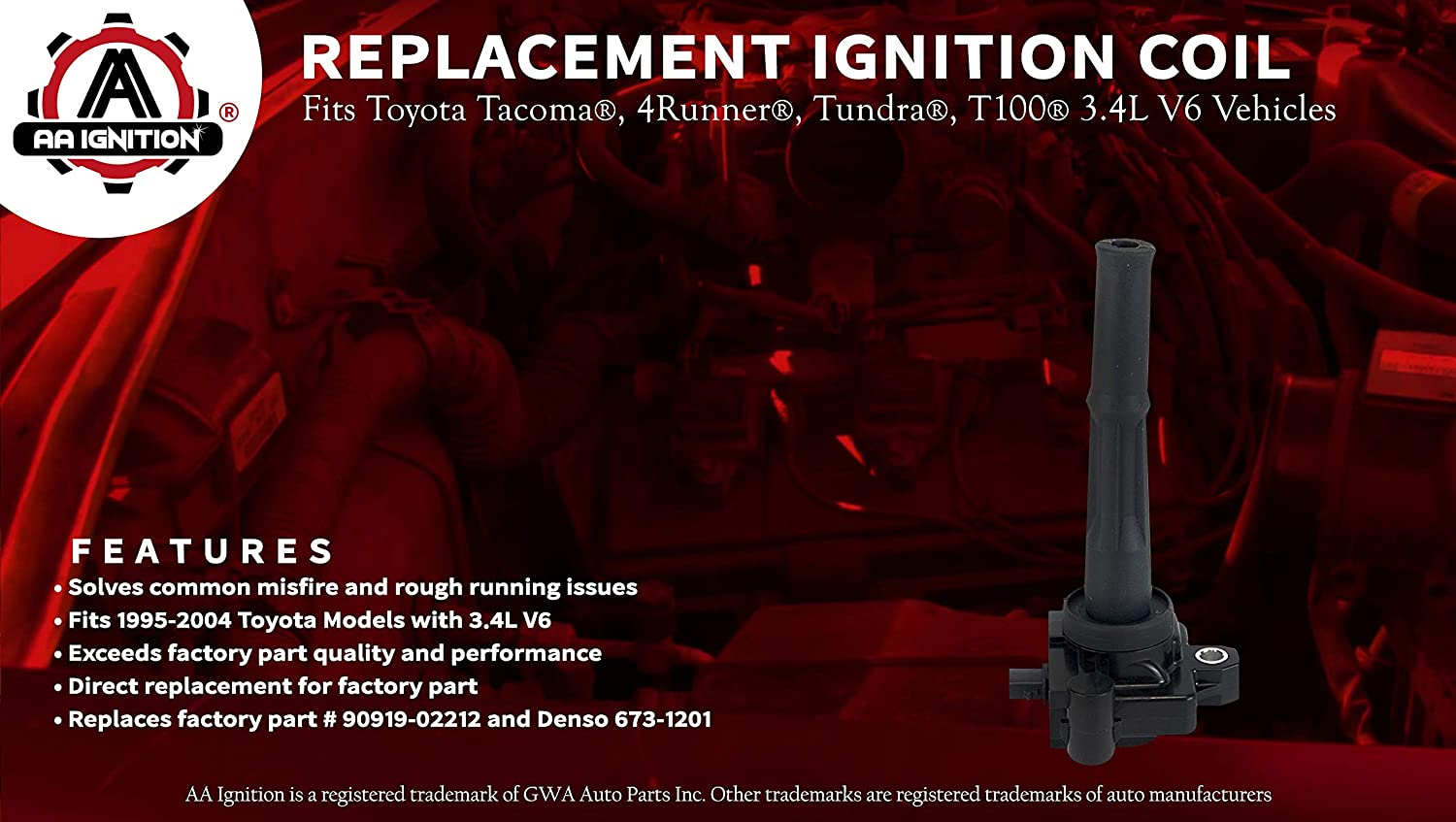 Ignition Coil Pack - Coil Pack Fits Toyota Tacoma, 4Runner, Tundra, T100  3 4L V6 Models - Replaces Part# 90919-02212 - Model Years 95, 96, 97, 98,  99,