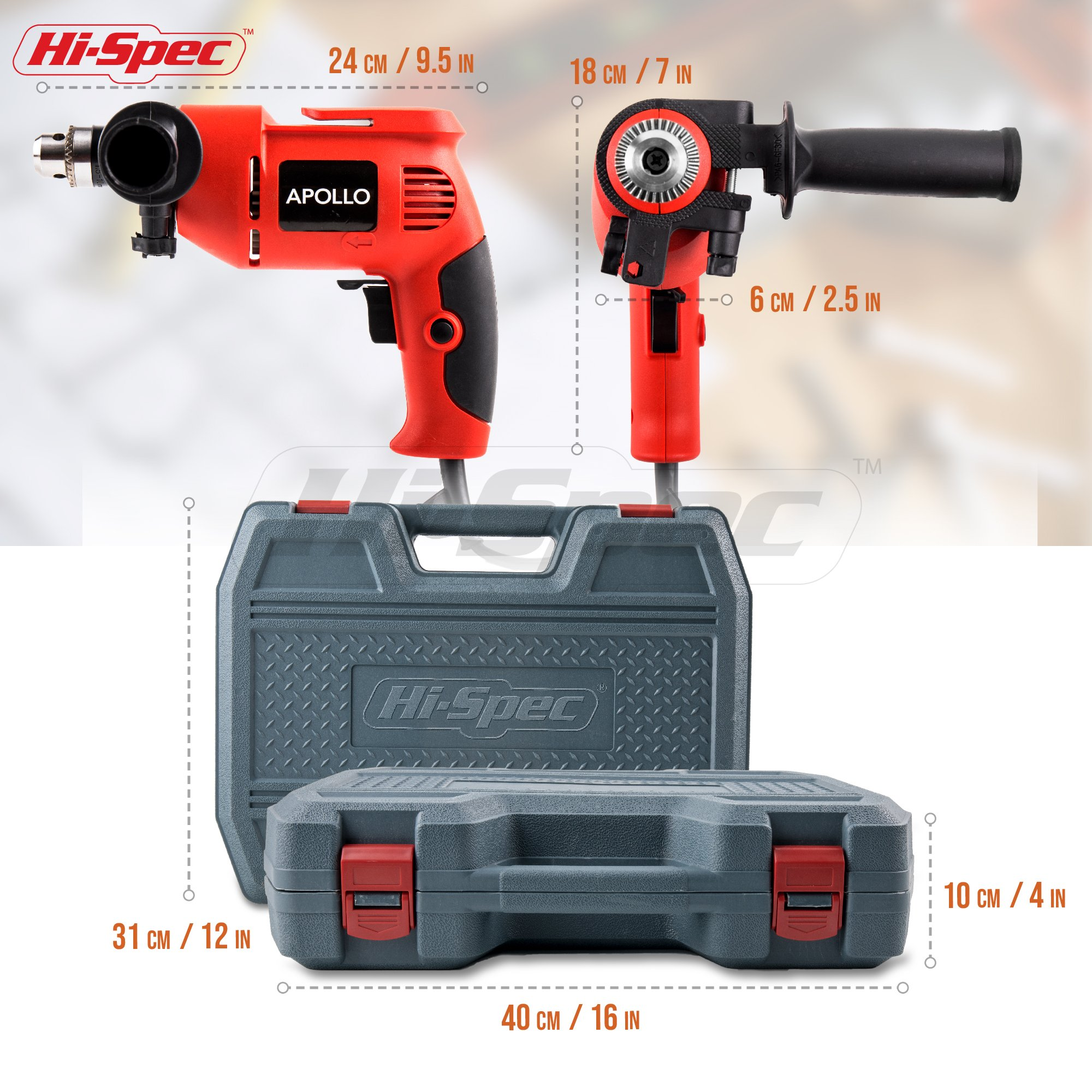Hi-Spec Complete 130pc 110V 300W Hammer Power Drill & Hand Tool Set Combo Kit with Hacksaw, Pliers, Claw-Hammer, Wrench, Box Cutter, Hex Keys, Screwdrivers, Socket and Driver Bits, Voltage Tester Case by Hi-Spec (Image #4)