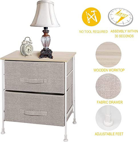 ITIDY 2-Drawer-Dresser,Nightstand,Bedside Table,End Table,Storage Chest for Nursery,Closet,Bedroom and Bathroom, NO Any Tool Required to Assemble,Patent Design,Limited Edition,Linen