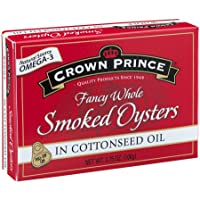 Crown Prince Smoked Oysters in Cottonseed Oil, 3.75 Ounce (Pack of 18)