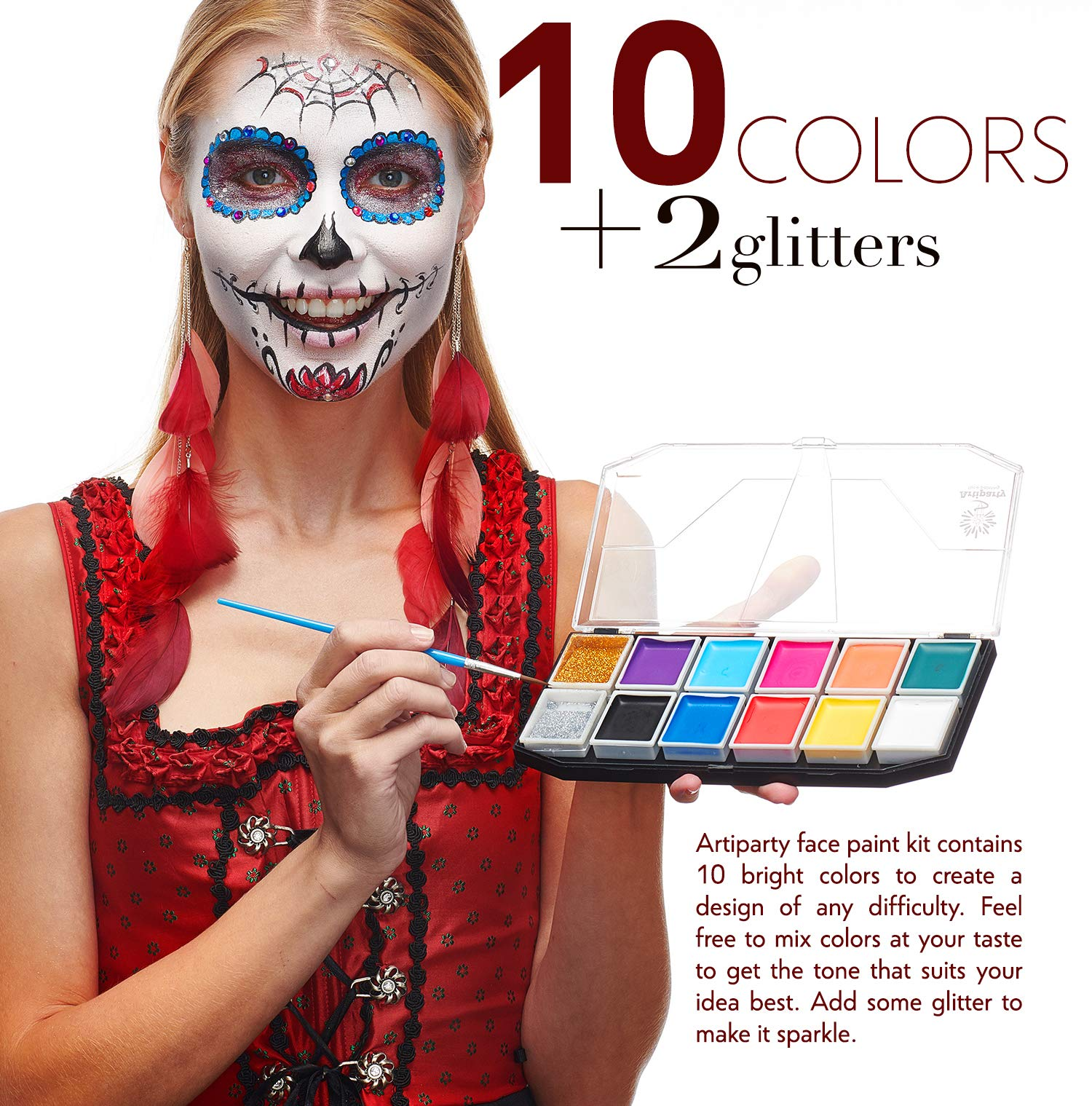Face Paint Kit – Non-Toxic & Hypoallergenic – Professional Face Painting Kit for Kids & Adults – Cosplay Makeup Kit – Easy to Apply & Remove – Body Paint Set – Leakproof Dry Glitters