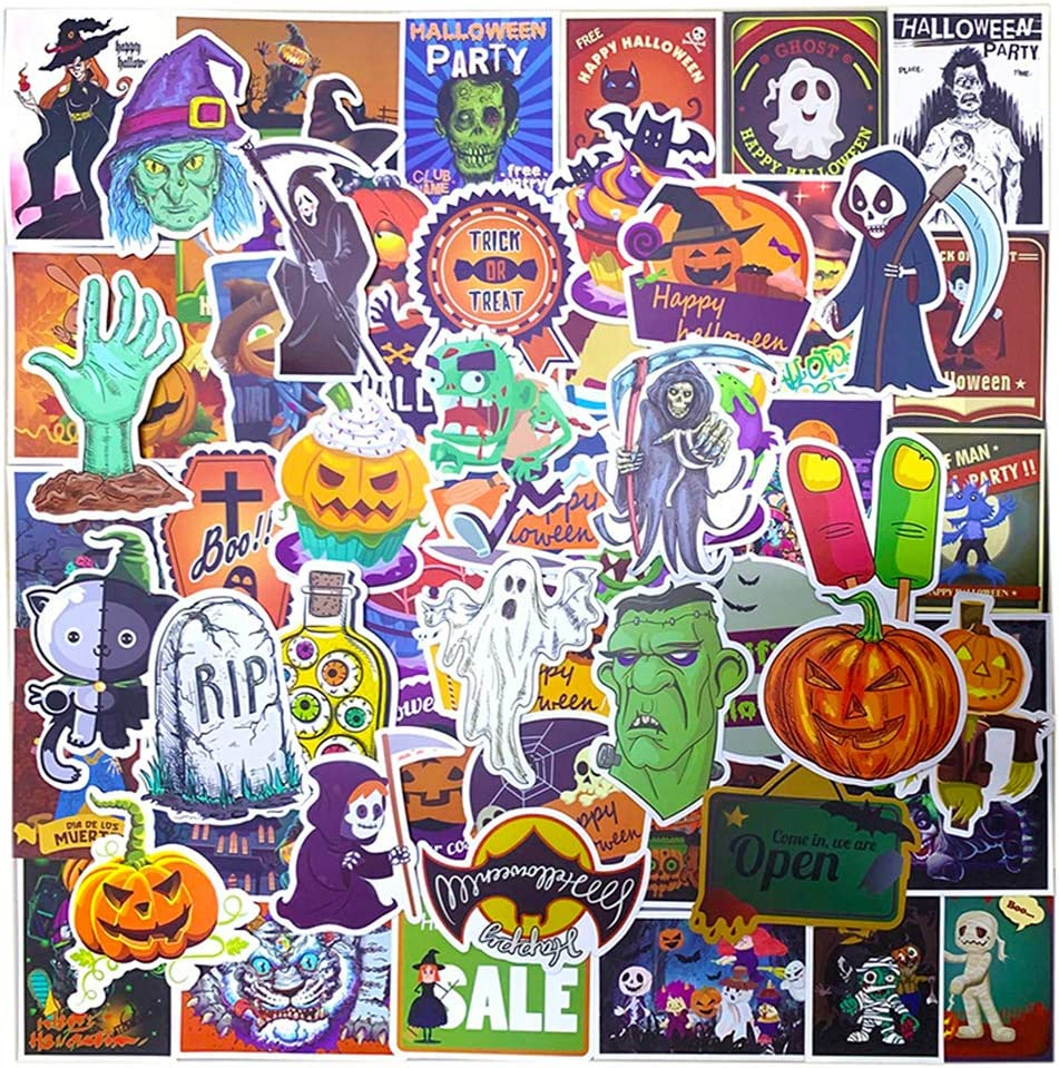 Ratgoo 100 Pcs Halloween Stickers Horror Pumpkin Skull Stickers for Computer Laptop Phone Water Bottle Car Bicycle Bumper Skateboard Kids Children Boy Adult for Halloween Party Decoration