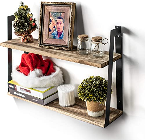 T-SIGN Floating Shelves Wall Mounted, 2-Tier Rustic Floating Wall Shelves, Wood Hanging Shelves for Bedroom, Bathroom, Living Room, Kitchen, Office Storage and Display, with Gloves, Carbonized Black