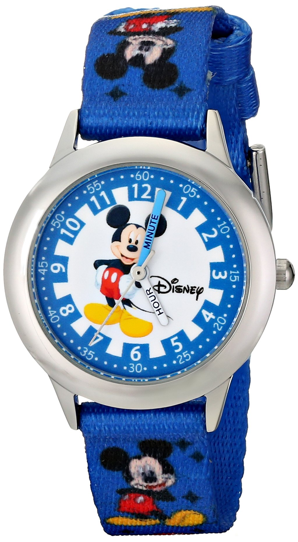 Disney Kids' W000022 ''Time Teacher'' Stainless Steel Watch with Blue Nylon Band by Disney
