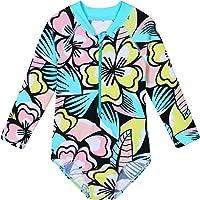 TFJH E Kids Girls Rashguard Swimsuit UV 50+ Long Sleeve One Piece Swimwear Zip