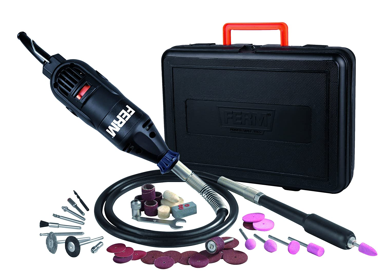 Variable Speed Multipurpose tool- Flexible Shaft 160W Incl FERM Rotary Multitool 40 Accessories and a storage case