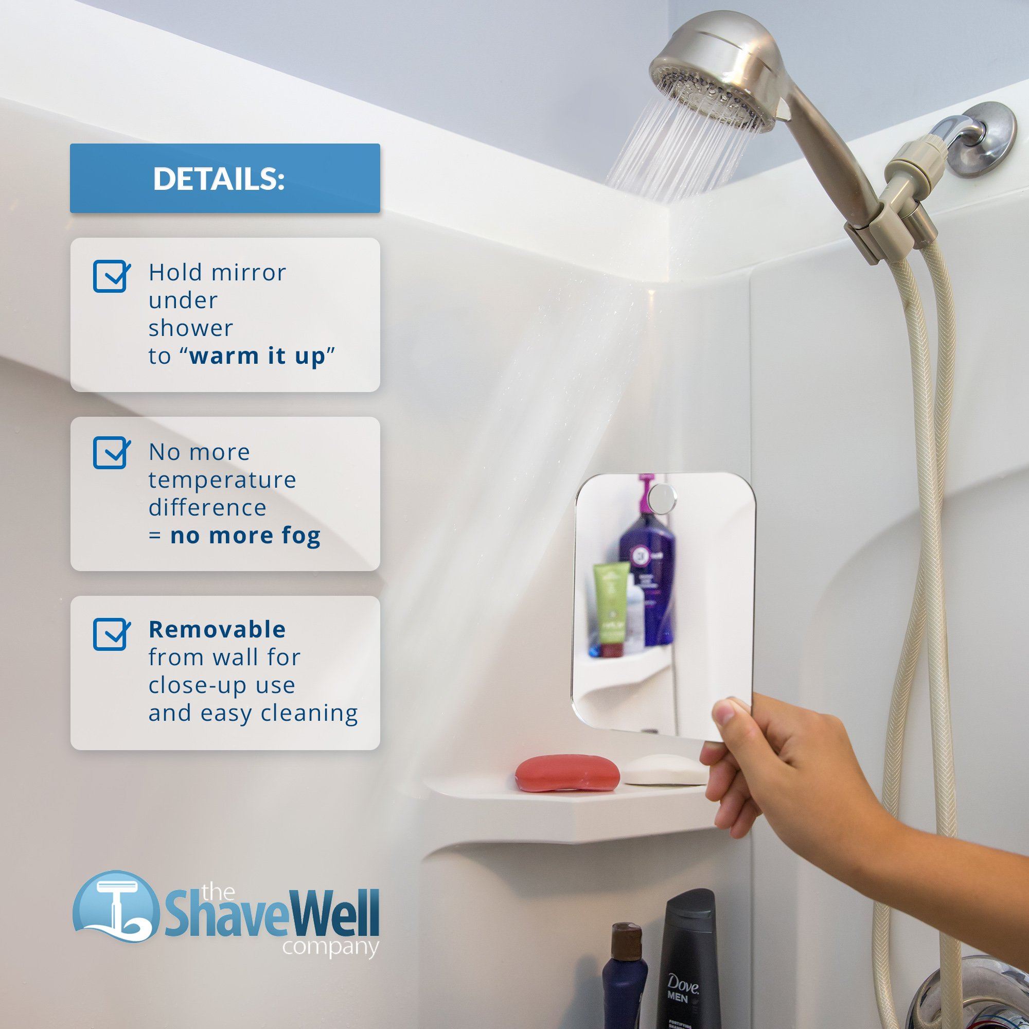 Deluxe Shave Well Fog-free Shower Mirror - Made in the USA - 33% larger than the Original Shave Well Anti-Fog Shower Mirror by The Shave Well Company (Image #2)