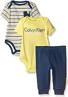 Calvin Klein Baby Boys' 3 Piece Short Sleeve Bodysuit and Pant Set