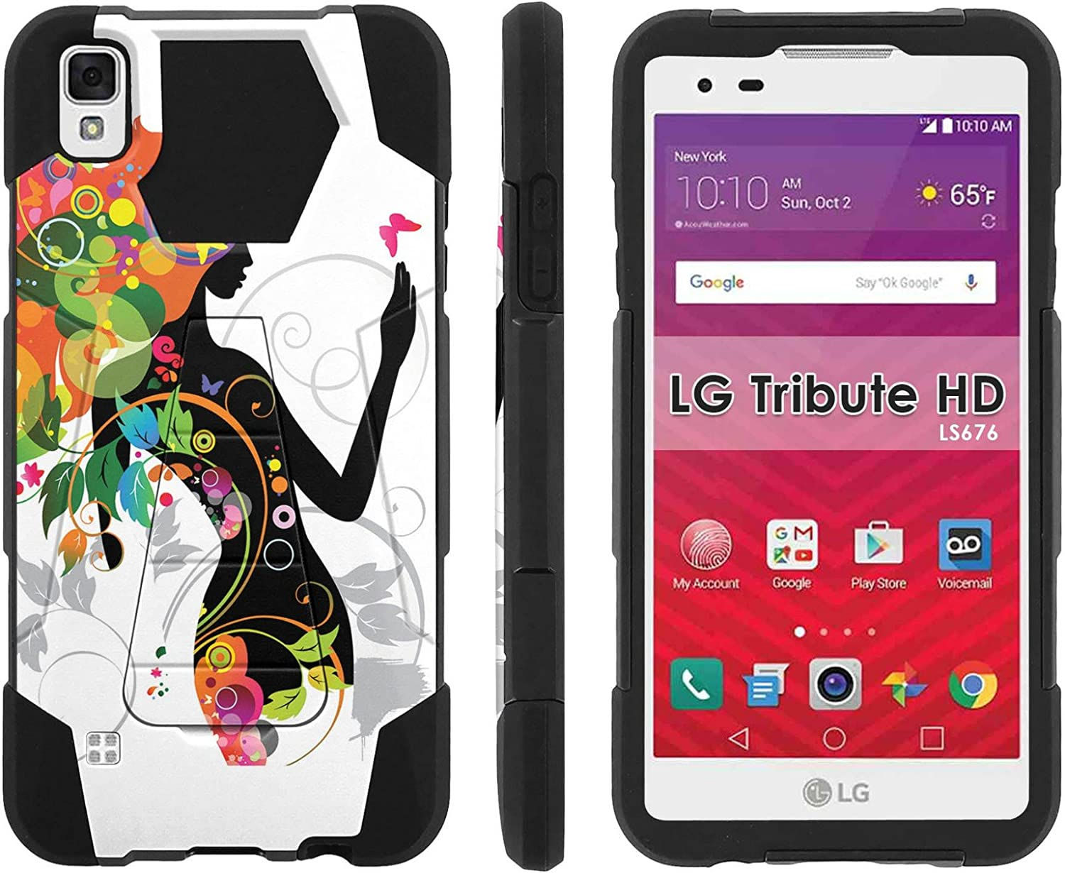 LG Tribute HD Phone Cover, Flower Girl- Hexo Hybrid Armor Phone Case for [LG Tribute HD] with [Kickstand] by Mobiflare