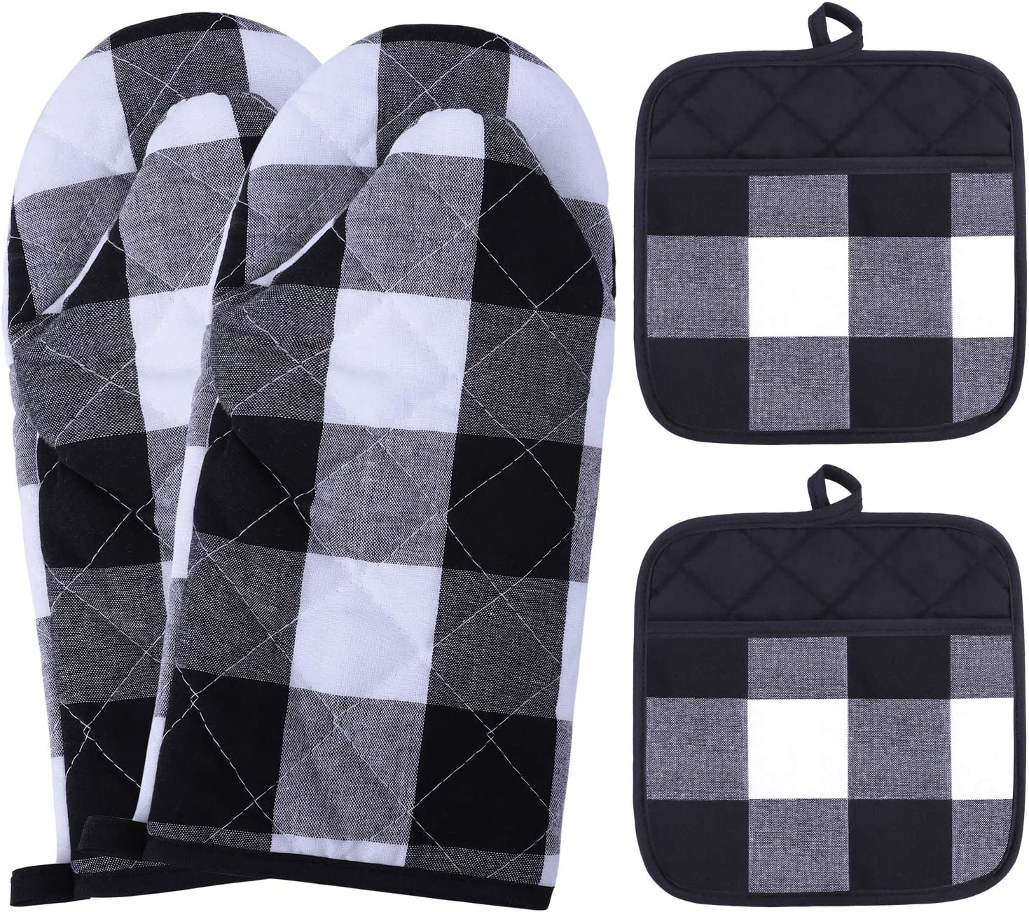 Aneco 4 Pack Buffalo Check Pot Holders Oven Mitts Kitchen Cotton Black and White Plaid Oven Mitts Pot Holders Set Kitchen Collection Check Plaid Gift Set