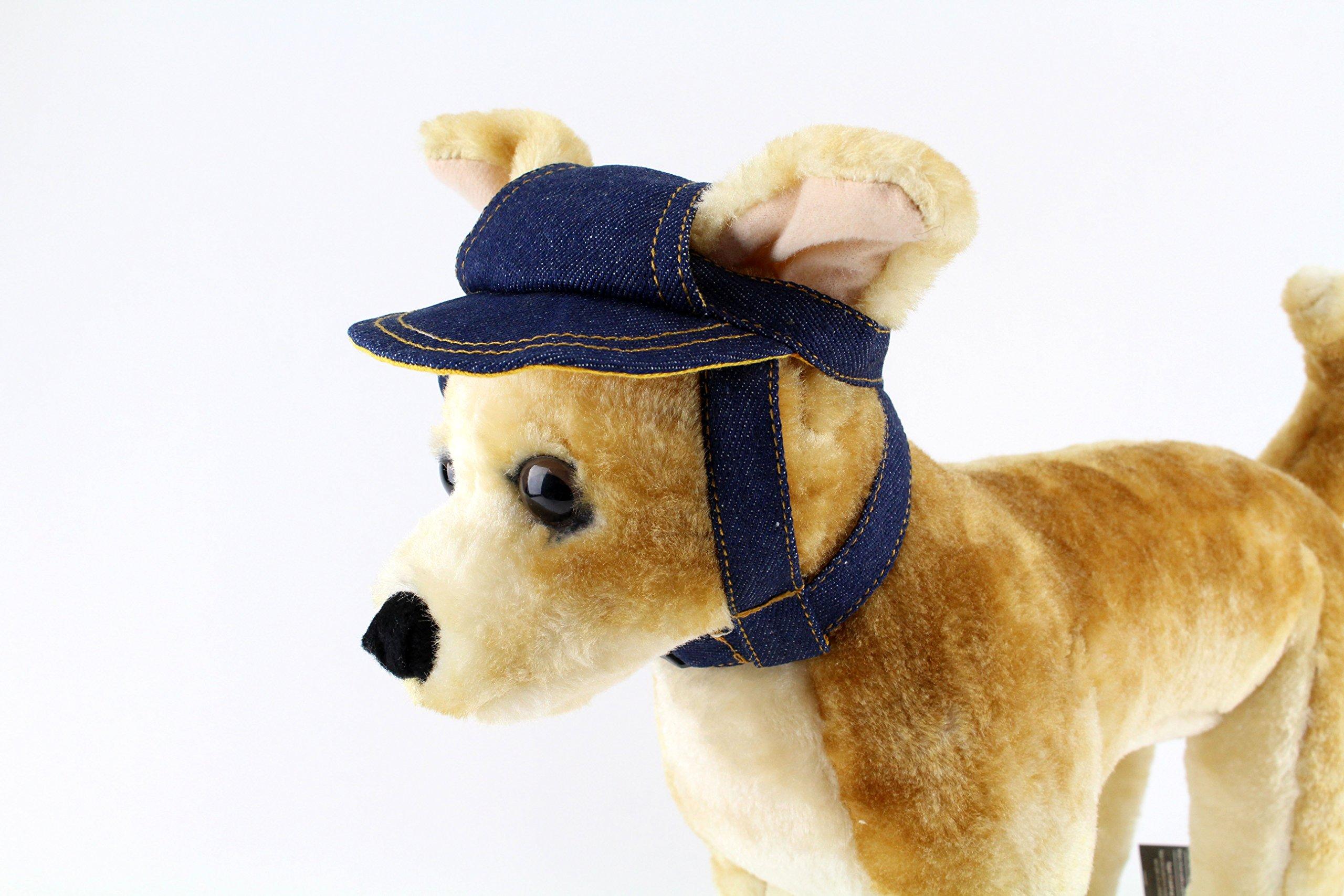 Midlee Denim Dog Baseball Cap 15-19'' Adjustable Chin Strap by (Large)