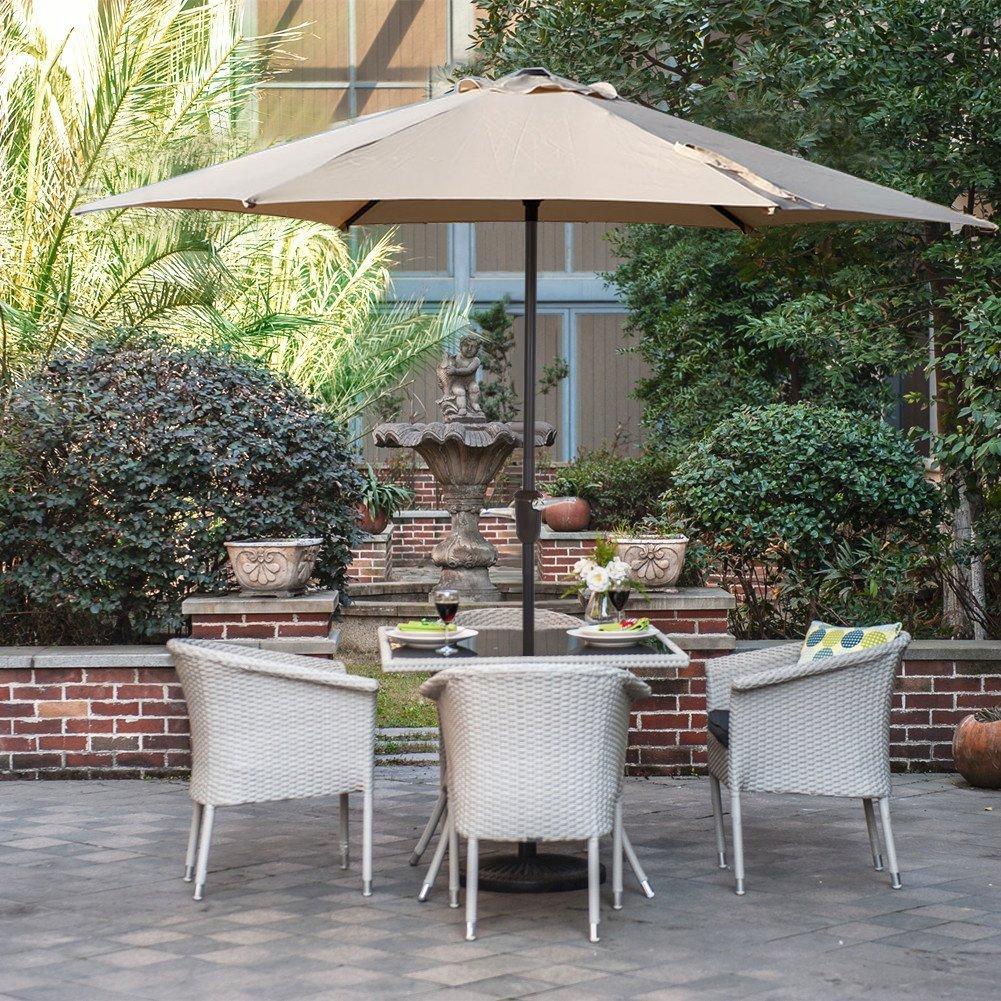 Garden Parasol with Tilt and Turn Crank Umbrella/Sun UV protection parasol 2.7m Diameter Round Green Grand Patio