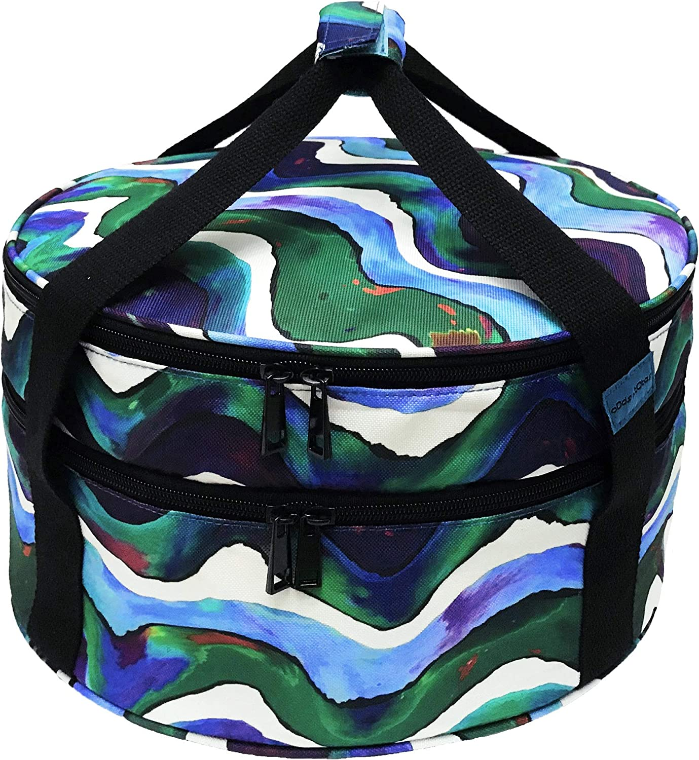 Casserole Carrier (Round), Casserole Carrying Case, Pie Carrier, Insulated Potluck Carrier, Thermal Bag for Cold & Hot Food, Party Dish, Dessert (Double Decker, Collapsible)