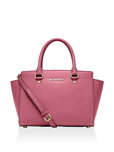 9e30f72c11bb Amazon.com  Michael Kors Selma Medium Saffiano Leather Satchel Tulip  Shoes