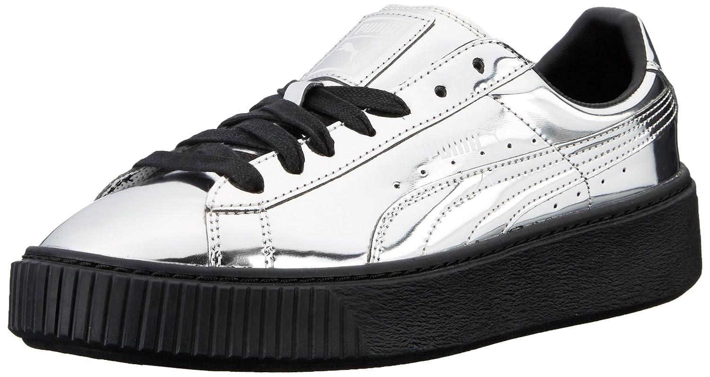 PUMA Women's Basket Platform Metallic Fashion Sneaker B01A82G35A 6 M US|Silver-silver-puma B