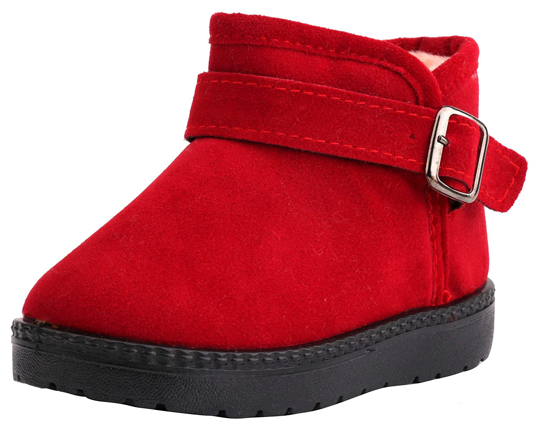 LONSOEN Kids Pull-on Winter Fur Ankle Boots(Toddler)
