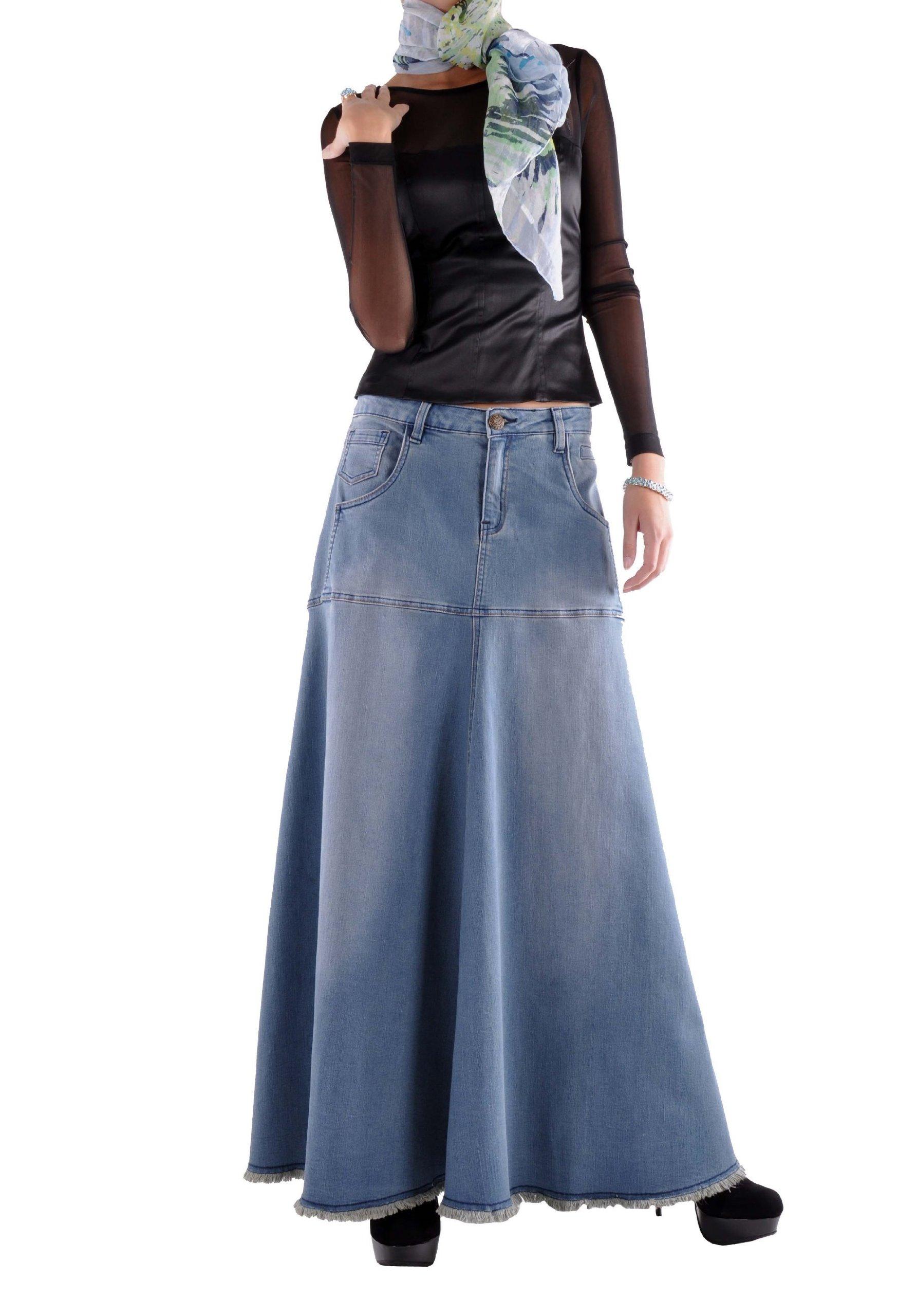 Style J Flowing Love Long Jean Skirt-Blue-36(16)