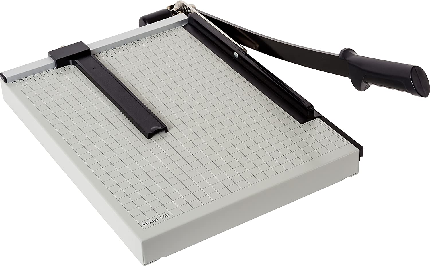 """Dahle 15e Vantage Paper Trimmer, 15"""" Cut Length, 15 Sheet, Automatic Clamp, Adjustable Guide, Metal Base with 1/2"""" Gridlines, Guillotine Paper Cutter"""