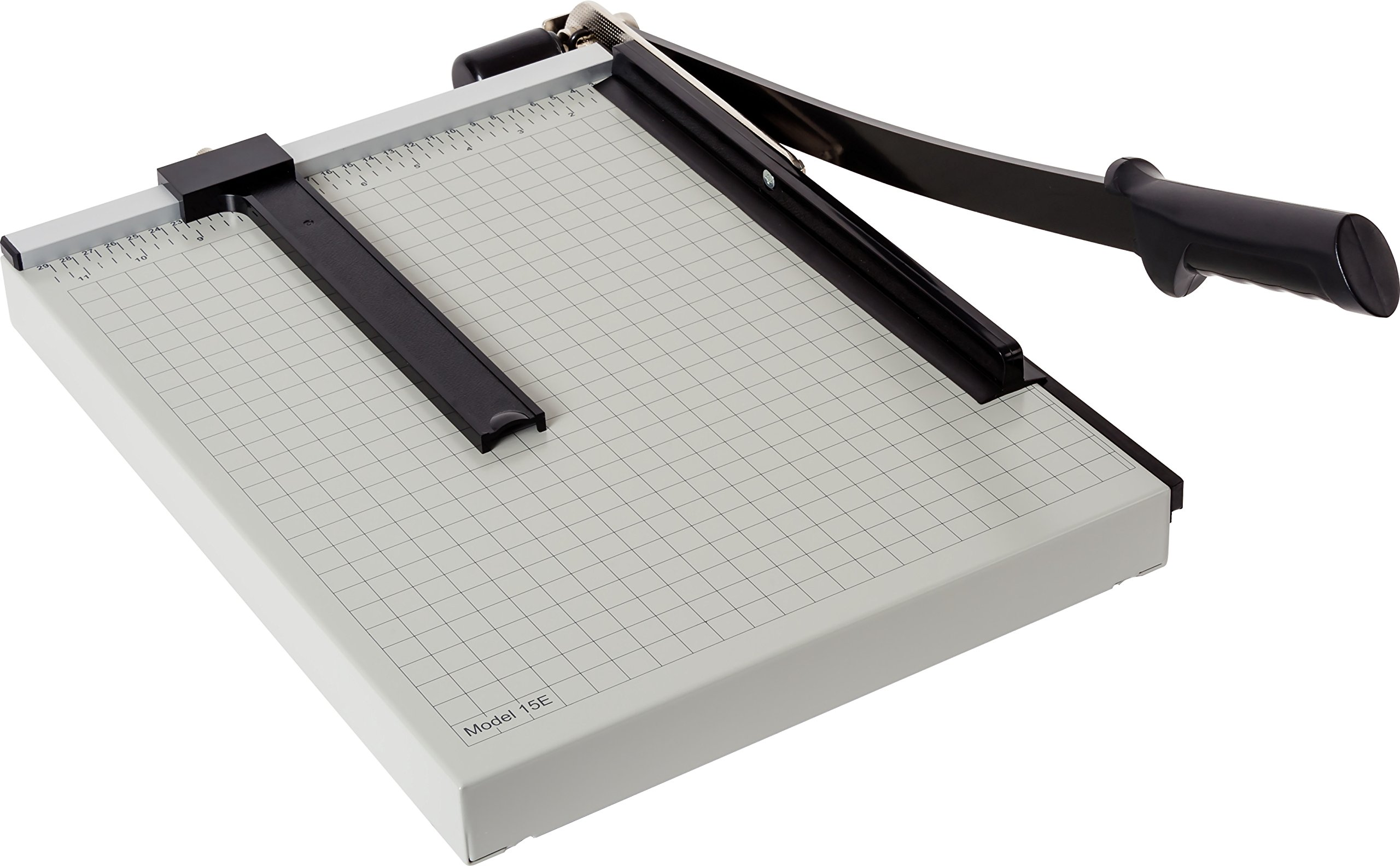Dahle 15e Vantage Paper Trimmer, 15'' Cut Length, 15 Sheet, Automatic Clamp, Adjustable Guide, Metal Base with 1/2'' Gridlines, Guillotine Paper Cutter