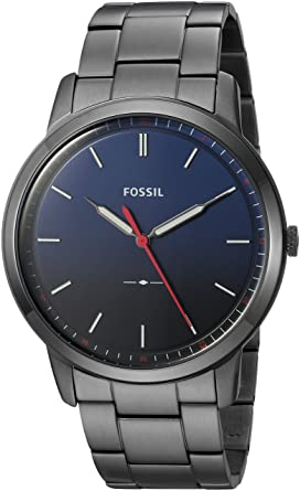 Fossil Mens Minimalist Quartz Stainless Steel Dress Watch Color: Grey (Model: FS5377)