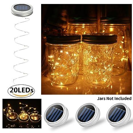 Glückluz Solar Mason Jar Lámpara Cubierta Eléctrica Accionada del Tarro de Cristal Tapa de Tarro de