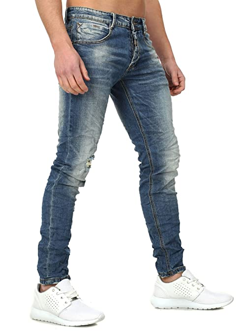 Y-Two Slim Fit Herren Jeans OBIDOS Vintage Destroyed Look mit Details  dunkelblau W38: Amazon.de: Bekleidung