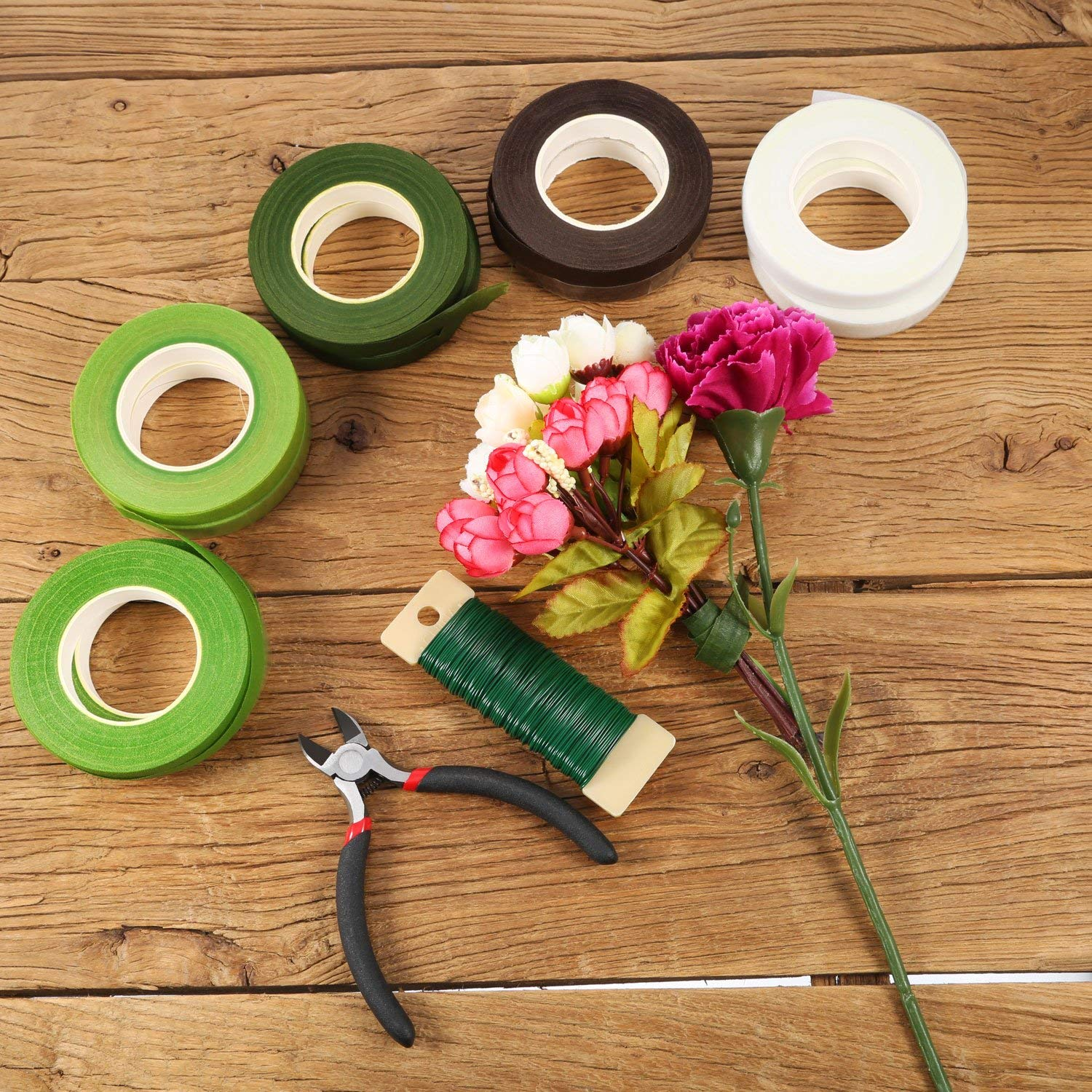 Dark Green, Green, Grass Green, White, Coffee Brown 10 Rolls Floral Tapes Floral Adhesives with 5 Colors 0.5 Inch Wide by 30 Yard for Bouquet Stem Wrap Florist Tapes Flowers Making Tapes